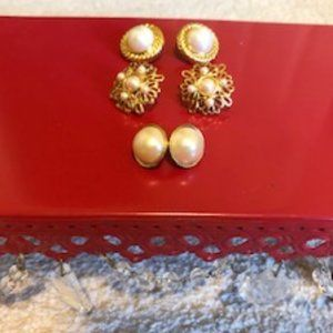 Vintage lot of 3 pairs of costume pierced earrings